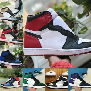 Nike Air Jordan 1 retro jordans Punta nera a buon mercato FRAGMENTI Green Game Royal Court Purple TWIST BLUE CHILL Scarpa sportiva in ossidiana