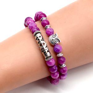 Gemstone Owl Bracelets 2 Layer Natural Stone Crystal Quartz Turquoise Beads Bracelet Charm Bangles Women Jewelry Gifts