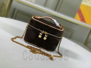 Vanity Niza BB PM Niza Mini Mini Bolso Monedero Mujer Cuero Cuero Caja de Lona Vanidad Casos Crossbody Hombro Cosmetic Bag M44496 M44495 M42265
