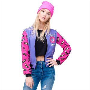 Fall Winter 3D Printed Donuts Womens Bomber Jacket Outwear full Sleeve Short Paragraph Coats Fashion Jackets