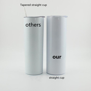 DIY Heat Sublimation Tumbler Blank 20oz Stainless Steel Skinny Insulated Tumbler DIY Straight Cups White Beer Coffee Mugs In Stock WY949