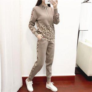 2020 Spring Autumn New Mulheres Sportswear Knit 2 Piece Suit camisola Moda Pés Calças duas peças Feminino