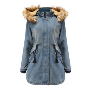 Новая женская куртка меховые джинсовые голубые джинсы с капюшоном дешевые женщины пальто зимнее тепло 100% размер хлопка S-XXL