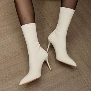 High Heels Boots Pointed Toe Ankle Boots Women Stretch Socks Female Autumn Winter High Heels Shoes Botas Mujer