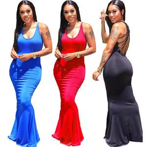 Women Casual maxi Dresses spring summer Clothes sexy & club elegant sleeveless bodycon scoop neck sheath column evening party dresses 0667