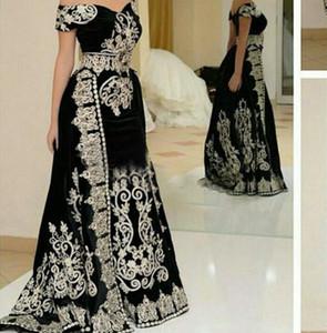 2021 Gorgeous Kaftan Black Evening Dresses Floor Length Long Prom Dresses Velour Embroidery Vestido De Festa