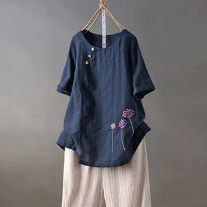 2019 White Shirt Women Boho Clothing Cotton And Linen Plus Size Embroidery O Neck Button Casual Blouse Tops blouse femme blanche