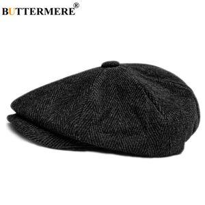 Luxury-BUTTERMERE Men's Herringbone Flat Cap Wool Newsboy Hats Male Dark Grey Winter Classic Octagonal Cap Vintage British Painter Hat