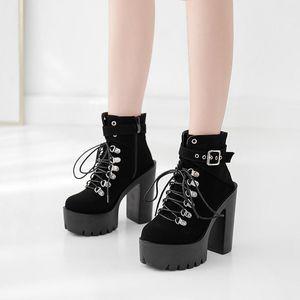 YMECHIC Black Punk Gothic Platform Ankle Boots for Women Block Super High Heels Buckle Lace Up Combat Boots Rock Ladies Shoes