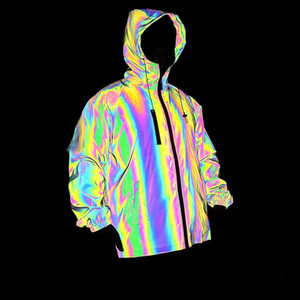 Hot Men's Full Reflective Jacket Light Hoodies Women Jackets Hip Hop Waterproof Windbreaker Hooded Streetwear Coats Man 628494579998