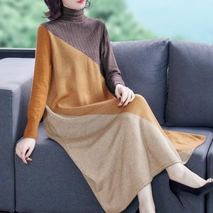 2021 New Autumn Plus Size Knitted Sweater Maxi Dress Elegant Vintage Women Dresses Winter Casual Turtleneck Bodycon Wool Sweater