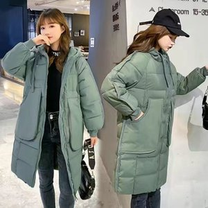 2021 New Womens Mid Long Drawstring Hooded Quilted Cotton Padded Coats Puffy Down Jackets Uuhi
