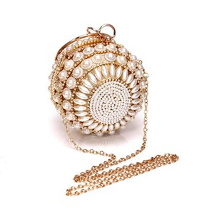 Women Luxurys Designer Round 2020 Handbag Shoulder Clutch Bag Rhinestone Classic Wedding Pearl Shiny Bags Purse Bag For Party Evening Wjlmg