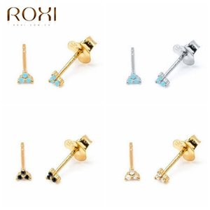 ROXI Simple Turquoise Stone Clover Stud Earrings for Women Triangle Small Stud Earrings Piercing 925 Sterling Silver Jewelry
