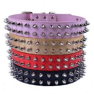 Personalized Spiked Dog Collar Large Gold Black Red Pink Pu Leather Collars For Big Dogs Pet Products Dog Collars & Leads