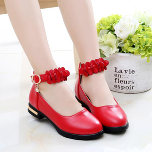 4-12 Years 2020 Old Princess Shoes For Little Girls School Dress Female Flower Low-Heeled Kids Party Wedding Child Leather Shoe