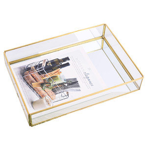 Nordic Retro Storage Tray Gold Rectangle Glass Makeup Organizer Tray Plate Jewelry Display Home Decor Y1119