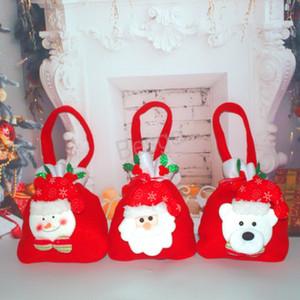 Santa Claus Drawstring Gift Bags Christmas Candy Gift Handbag Xmas Decoration Kids Snowman Bear Candy Storage Bags Festival Party BH1582 TQQ