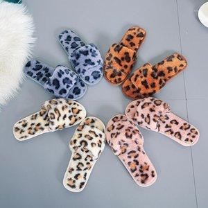 Qweek Leopard Home Soft Shoppers Shoes para Mulheres Quentes Chinelos Fluffy Pele Curtos Slides Para Mulheres Não-Slip Fuzzy1