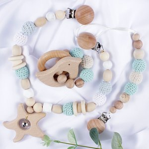 New Baby Toy Wooden Pram Clip Baby Mobile Pram Food Grade Beech Bead Pacifier Chain Chewable Rattle Baby Wooden Teether Z1124