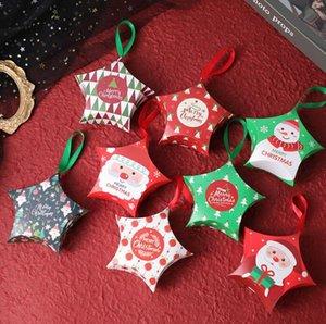Star Cadeaux Boîtes Cadeaux Noël Cadeaux Cadeaux Boîtes Suspending Rope Sacs Noël Candy Box Santa Claus Boîtes De Paper Boîtes Design Boîte d'emballage Zy984