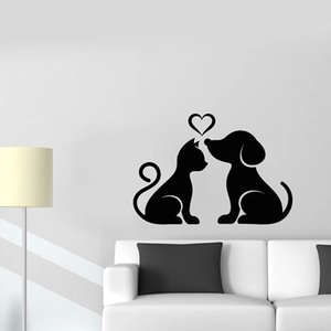 Cat And Dog Wall Decal Pet Home Animals Love Heart Vinyl Window Stickers Pets Store Kids Bedroom Nursery House Decor Mural 1852