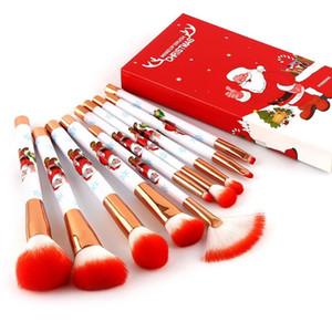 10Pcs Professional Christmas Makeup Brushes Set Foundation Powder Blushes Eyeshadow Cosmetic Brush Tools