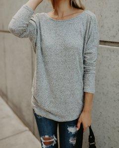 Backless Sexy Women T shirt girocollo a manica lunga di colore solido Tees Famale vestiti di autunno