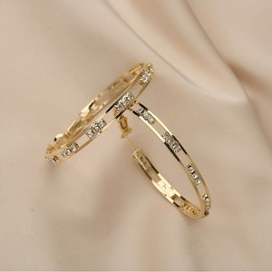 Gold Hoop Earrings Party Rhinstores Fashion Jewelry 2021 Trend New Earings for Women Gifts European Korean Trendy Style Luxury