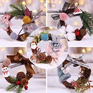 Artificial Plant Rattan Wreath Mini Garlands Home Christmas Party Decor Wooden Five-Pointed Star Pendant Gift Hanging Ornament