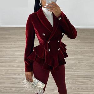 Women winter in vintage red velvet blazers and elegant jackets office ladies plum plied sleeve long thin blazer women's coat