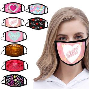 Yüz Maskesi Tasarımcı 2021 Sevgililer Günü Yüz Maskeleri Çift Baskılı Pamuk Bez Ağız Maskesi Erkekler Kadınlar Için Toz Smog Toz Geçirmez Yüz