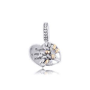 New style 925 sterling silver two-tone family tree heart pendant pandora necklace beaded DIY fashion ladies bracelet jewelry free shipping
