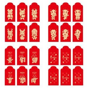 Paquetes de Lucky Invoz China Sobre rojo Paquete rojo para 2021 Año del Festival de Primavera Ox Festival Boda Dinero Regalo Bolsa de regalo Mar HWC5358