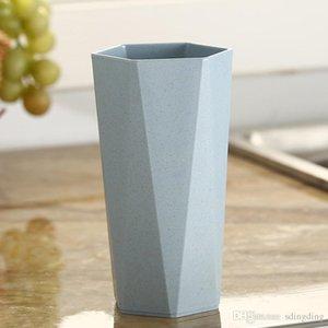 Basit tasarım buğday samanı geometrik fırçalama fincan elmas şekli gıda sınıfı kupa fincan kahvaltı kahve süt buğday fincan deniz nakliye yys3062