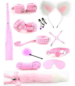 12Pcs Cute Metal Fox Tail Anal Butt Plug Handcuffs bdsm Bondage set nipple clamps gag Whip Rope Sex Toys For couple Woman Men Y201118