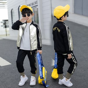 Teenage Boys Clothes Children Bright side Clothing Set Leather Pu coats+ Pants Two-Piece Casual Sequins Kids Girls Clothes Suit Y1117
