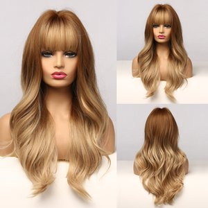 Parrucca di evidenziazione dorata di Brown Oro ondulata sintetica lunga per le donne nere Parrucca cosplay afroamericana con Bangs resistente al calore
