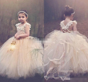 2015 Ball Gown Lace Flower Girls Dresses Champagne Tutu Cheap Strapless Cap Sleeve Cross Back Puffy Little Girls Kid First Communion Dresses