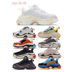 2021 سميكة القاع الثلاثي S الاحذية الموضة في باريس tripler أبيض أسود قناطر منصة حذاء رياضة 17FW رجل إمرأة حذاء المدربين 36-45 تيم