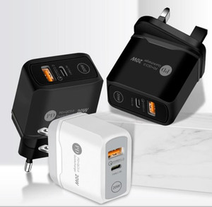 Type-C 20W PD and QC 3.0 Fast Wall Phone Charger with US EU UK Plug for IPhone Ipad Xiaomin Huawei Mobile Phone