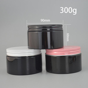 200g 300g Plastic Black Jar Empty Cosmetic Cream Body Lotion Storage Container Candy Spice Packaging Bottle Free Shipping