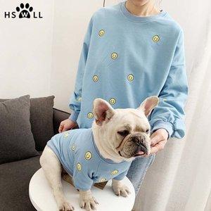 Primavera y verano nuevo smiley bordado suéter mascota francés bulldog ropa perro y propietario traje lindo cachorro 201030