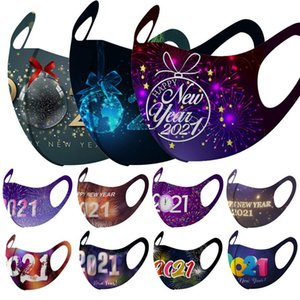 2021 Happy New Year Face Masks Xmas Anti Dust Fog Mouth Cover Breathable Washable Christmas Gift AHA2625