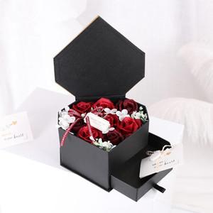 شكل قلب درج صابون زهرة هدية مربع لصديقة هدية عيد ميلاد الإبداعية مطابقة بطاقة الماسونية مربع الزهور الزخرفية