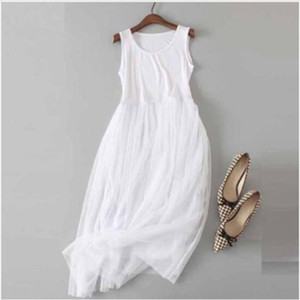 Summer Casual Sweet Floral Embroidery Dress Womens Sleeveless Sweet Soft Modal Lace Layer Black White Mori Girl Tank Dress