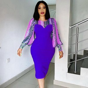 Women Printed Dress O Neck Patchwork Long Sleeves Midi Flower Bodycon African Fashion Large Size Ladies Package Hip Female Robes