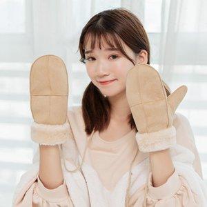 Wholesale-Winter Thick Faux Wool Sheepskin Cross Halter Mittens Fashion Wind Suede Leather Fur Women Famale Warmer Gloves