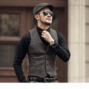 2018 New arrival winter men's slim woolen casual plaid European style vest Mens fashion design suit vest waistcoat fashion