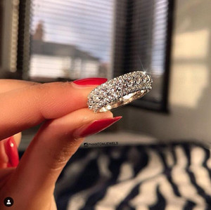 2021 Ins Top Selling Luxury Jewelry 925 Sterling Silver Three Rows Pave White Topaz CZ Diamond Promise Rotatable Women Wedding Band Ring Gif